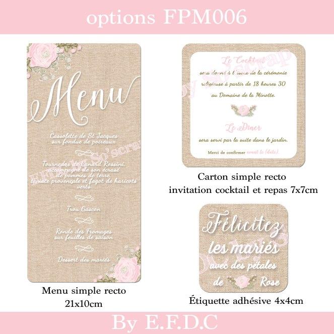 Timeline options faire part mariage thme romantique shabby chic fond lin clair fleurs rose et gypsophile menu assorti 21x10cm personnaliser stopboris Gallery