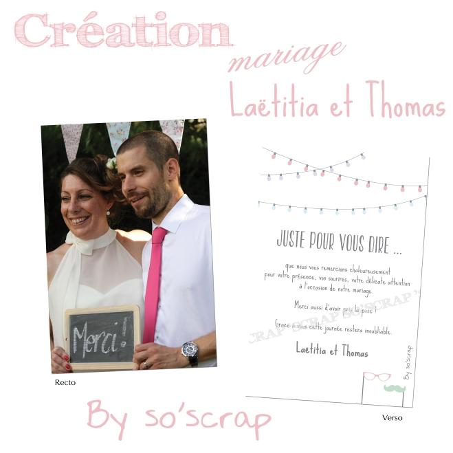 Carte de remerciements mariage assortie au faire part, motif photobooth, texte et photo à personnaliser, rv 10x15cm (A6)