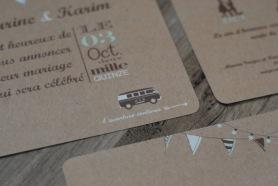 iimage/photo faire part mariage impression kraft, vert et chocolat, thème voyage, combi VW, nomade
