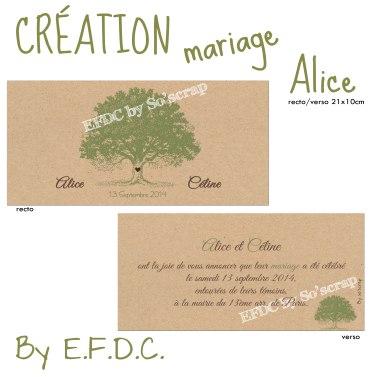 annonce mariage, thème nature, arbre, création sur mesure, à personnaliser, scrap digital, bio, enveloppe kraft, vert olive et chocolat, recto/verso 21x10cm