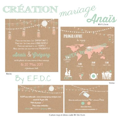 faire part mariage, thème voyage, scrapbooking digital, recto verso 13,5cm, lampions, carte monde, avion, vert mint et corail, programme pictogrammes, impression fond kraft, RSVP et dress code assorti RV 8x13cm