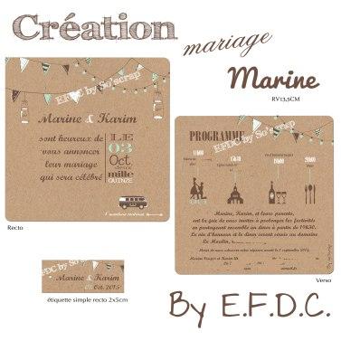 faire part mariage sur mesure, impression kraft, thème champêtre, fanions, guirlande d'ampoules, vert et chocolat, scrapbooking digital