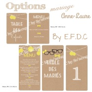 options assorties faire part mariage, menus, scrapbooking digital, thème lunette et noeud jaune