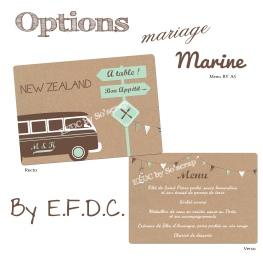 menus assortis au faire part de mariage thème voyage, van, combi ou caravaning, impression fond kraft, recto/verso A5, scrapbooking digital