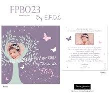 RÉF FPB023, faire part baptême arbre de vie, photos et texte à personnaliser, recto/verso 13,5cm, papillons, mauve rose et vert d'eau, photographie Florine JONNEKIN, scrap digital