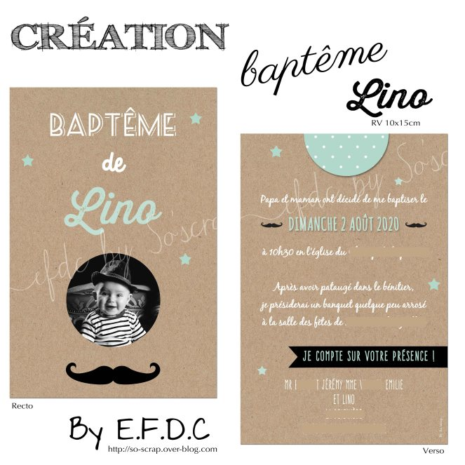 invitation papeterie carterie faire part de baptême recto verso 10x15cm impression fond type kraft #efdcbysoscrap à personnaliser texte couleur et photo étoiles moustache création originale et sur mesure