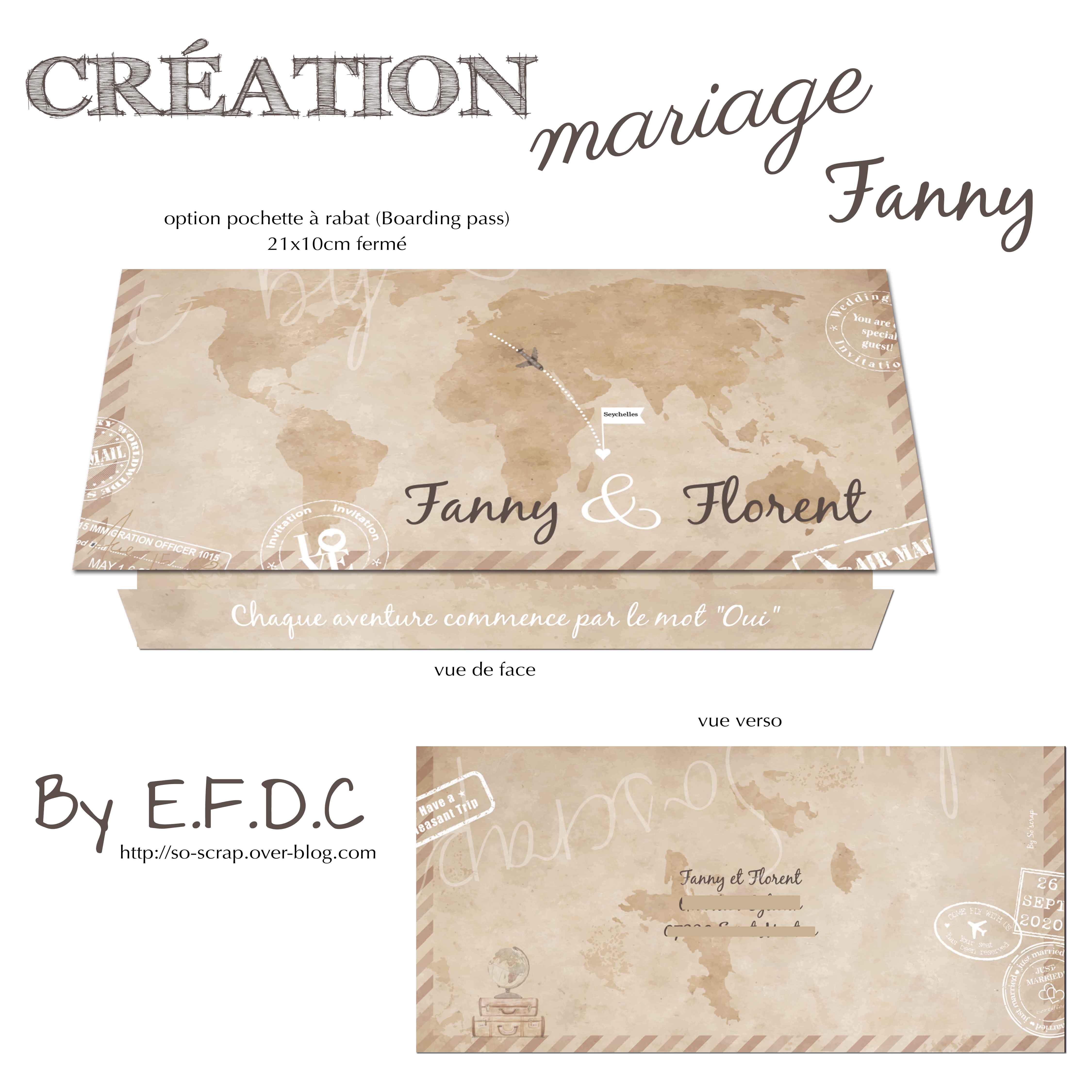 option pochette pour boarding pass invitation mariage personnalisation création originale et sur mesure simple recto possibilité recto verso RV° #efdcbysoscrap