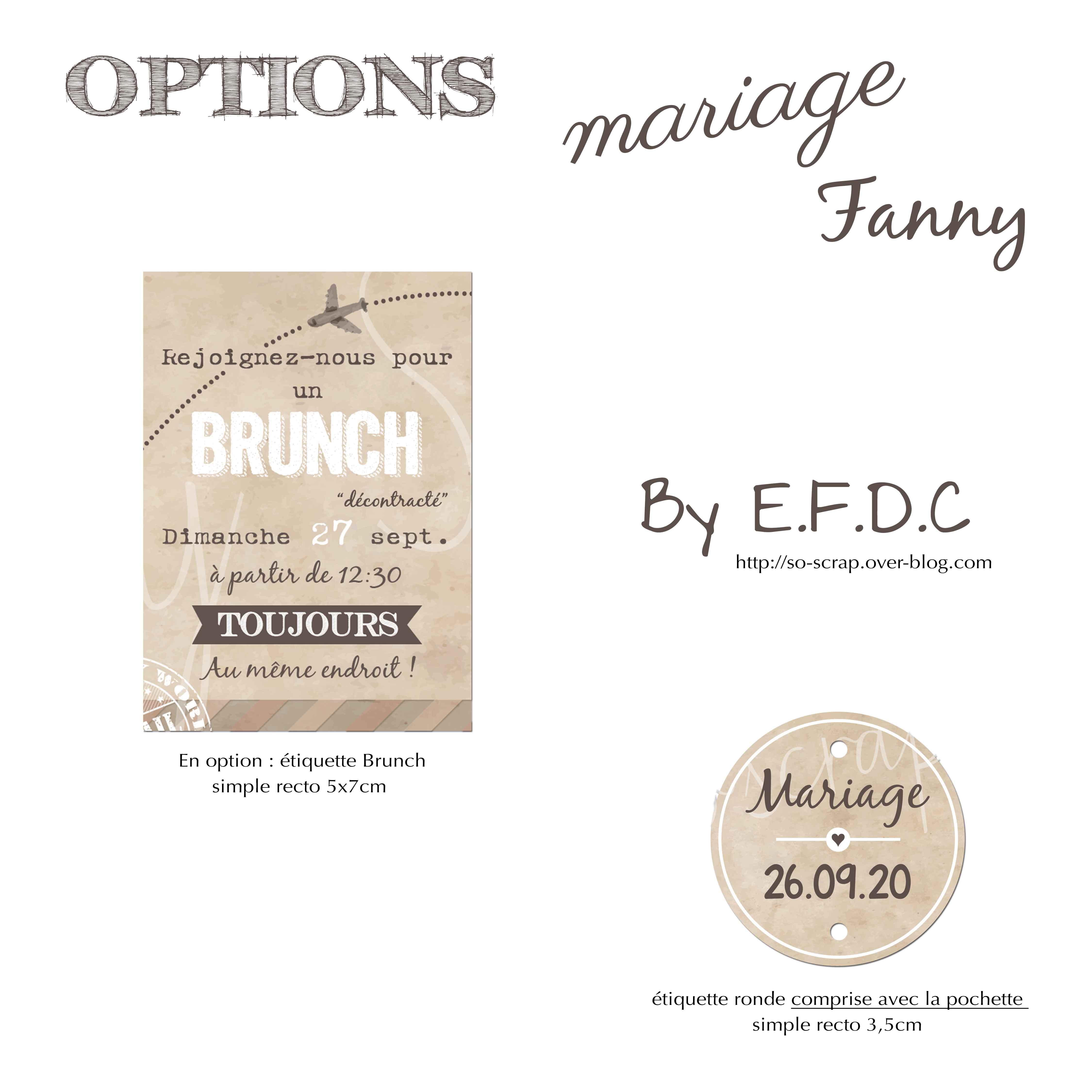 options assorties au faire part de mariage thème voyage rétro vintage #efdcbysoscrap carton BRUNCH étiquette ronde comprise avec pochette
